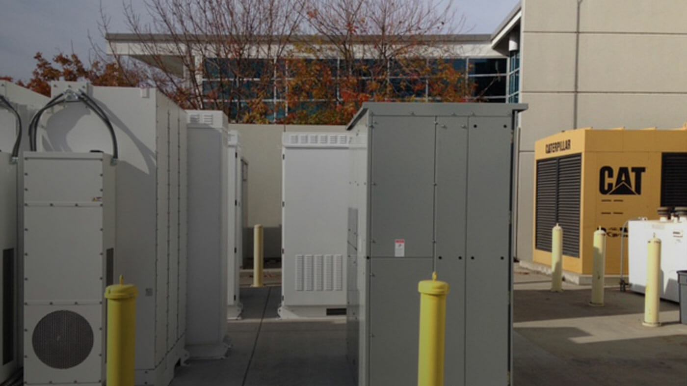 Outdoor energy infrastructure at a Tesla facility