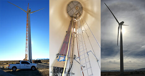 Triptych image of a power turbine windmill