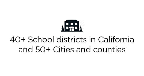 40+ School districts in california and 50+ cities and counties